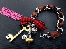 B96 Betsey Johnson Crown Pendant Lock Key Charm Love Dice Ribbon Bracelet US