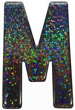 Gel Resin Domed Show Plate Digit Self Adhesive Metal Flake 'M'