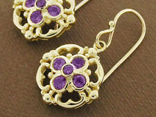E024 - Genuine SOLID 9ct Yellow Gold NATURAL Amethyst Drop Earrings Blossom