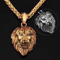 Herren Leuchten Löwenkopf Anhänger Halskette Edelstahl Schmuck Geschenk~ eNwrg