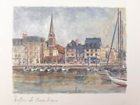 Guinet Honfleur Le Vieux Bassin Print On Card 7x6 France