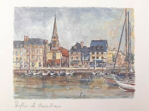 Guinet Honfleur Le Vieux Bassin Print On Card 7x6 France