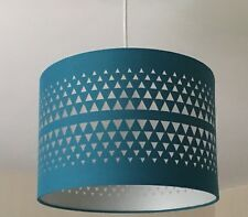 *NEW* Pendant Light Lamp Ceiling Shade Teal / Turquoise Blue Fabric Drum Cut Out
