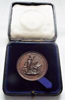 Cased Bronze Medallion 1910 London Chamber of Commerce Antique Medal