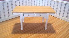 Dollhouse Miniature Furniture ~ Vermont Table ~ Oak and White ~ Towel Racks ~