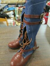 Women's Buckle Casual Lace Up Denim Knee High Boots sz 7.5 - NEW