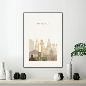 Liverpool City Print Glossy Canvas Wall Poster Travel Decoration Home Size A4 UK