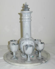 VINTAGE GRAY MARBLE DECANTER SET with SIX LIQUEUR or SHOT GLASSES and TRAY