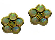 ER294 Genuine 9K Yellow Gold NATURAL SOLID Opal Daisy Blossom Stud Earrings