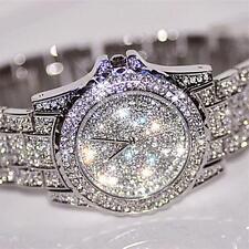 Luxury Women's Girl Crystal Stainless Steel Ladies Quartz Dial Dress Wrist Watch Black