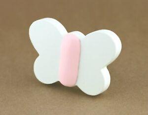 2x Childrens butterfly knobsKids wardrobe pullsGirls nursery handles White bed