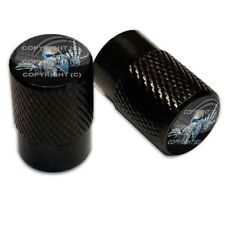 2 Black Aluminum Knurled Motorcycle Valve Caps - SKELETON FINGER BLACK TT061