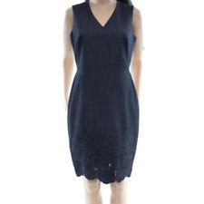 Calvin Klein Women's Petite V-Neck Floral Lace bottom Sheath Dress Denim Blue 4P