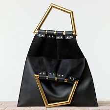 new CELINE Phoebe Philo black leather gold triangle metal handle bag runway NWT
