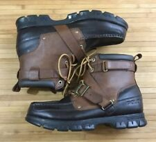 Vintage Polo Ralph Lauren Brown Leather High Top Boots size 12 Zig Zag II Winter