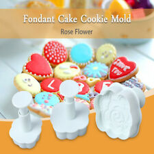 3pcs Rose Shaped Fondant Cake Cookie Punch Plunger Cutter Mold Tools Set