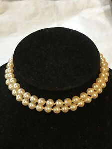1950s Faux Pearl Necklace Knotted Silver Plated Paste Clasp Vintage Jewellery