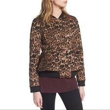 Trouve Leopard Print Women's Peplum Jacket Size XS Shades Of Brown