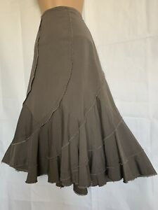 DENIM & Co Uk8 Mink Colour Flippy Cotton Midi Skirt BNWT BOHO HIPPY