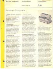 Braun Service Manual für Kleinbildprojektor D 40  Copy