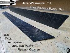 "Jeep TJ Wrangler 3 1/2"" Tall BLACK Rubber Coated Diamond Plate Rocker Panel set"