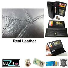 Ladies Black Genuine Soft Real Leather Purse Wallet with Coin Card Holder Zipped