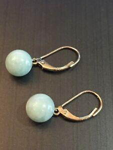 Gold & Jade Earrings 9ct Hallmarked