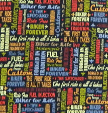 Patchwork Quilting Sewing Fabric Ride Free Biker Forever 50x55cm Fq New