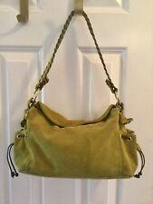 Abro Green DARK CHARTREUSE Suede Satchel Hobo Handbag Made In Italy VGUC