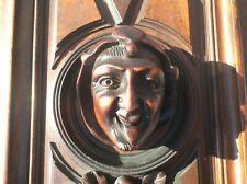 Antique french Wood door carved church face? demon devil satyr gothic style