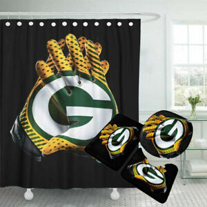 Green Bay Packers Bathroom Rugs 4PCS Shower Curtain Non-Slip Toilet Lid Cover