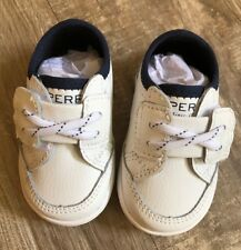 Sperry Deckfin 3M Boys White Crib Sneaker Shoes! New in Box!