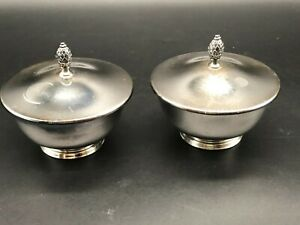 """SET OF 2-- 4"""" TALL SILVER PLATED CONTAINERS WITH LIDS--WM ROGERS"""