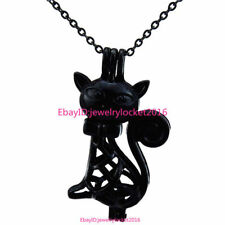 """-H362 18"""" Black Stainless Necklace Cat Kitten Pearl Beads Cage for Kid Girl Gift"""