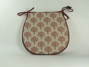 Mulberry Red D-Shaped Garden/Patio/Kitchen/Dining Tie-On seat pads *3 Sizes*