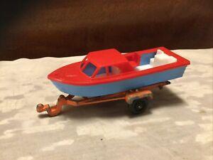 "Vintage 1960's Tootsietoy 4"" Plastic Cabin Cruiser Boat W/Trailer"