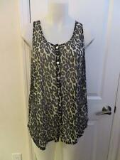WOMENS MINKPINK CREAM,BLACK LEOPARD PRINT SLEEVELESS BUTTON DOWN SHIRT SIZE L