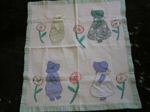 Quilt handmade Sunbonnet Sue & Farmer boy Appiique patchwork baby blanket VTG