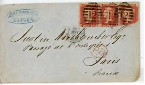 GREAT BRITAIN--Cover sent to Paris in 1862 franked with 3 Scott #20b
