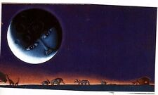 Unframed Art Poster fantasy landscape moon with face watching animals (k65)