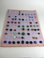 Antique Vintage Glass Buttons Lot of 61 Assorted Colors Sizes Shapes Paperweight