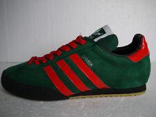 94 Vintage Adidas Originals Samba Super Green Leather CUSTOM Red Stripes (UK 12)