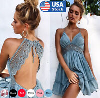 Womens Backless Sleeveless Bohemia Mini Dress Summer Beach Party Short Sundress