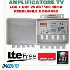 AMPLIFICATORE LOG + UHF 25dB,108 dBmV REGOLABILE CON FILTRO LTE EMMEESSE 83214TL