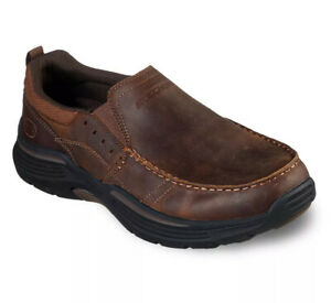 Mens 12 Skechers Relaxed Fit Expended Seveno Men's Slip-On Shoes Brown Leather