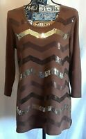 Quacker Factory Womens Top Size S Brown Sequins Tunic Length 3/4 Sleeve