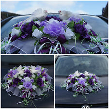 Autodeko Braut Auto Deko Blumen Tauben Hochzeitauto Kunstblumen Autoschmuck LA60