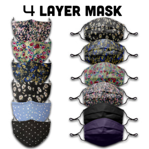 4 Layer Face Mask Buy 2 Get 1 Free Filter Pocket Washable Reusable Face Cover UK