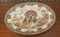 VINTAGE THANKSGIVING TURKEY PLATTER HAND PAINTED BY GLOBAL ART- MADE IN JAPAN