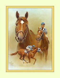 Secretariat Triple Crown Artist Fred Stone 8x10 Double Matted 5x7 Art Print